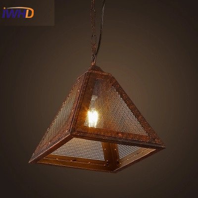 Vintage Industril Pendant Lights Edison Loft Pendant Lamp Retro Rust Iron Triangle Hanging Light  Fixtures For Restaurant Bar