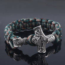 SG Vantage Norse Viking Bracelets Thor Mjolnir Hammer Paracord Amulet Rune Knot Scandinavian Rope Bangles Men Jewelry Gifts(China)