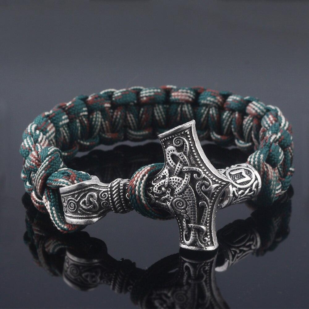 SG Vantage Norse Viking Bracelets Thor Mjolnir Hammer Paracord Amulet Rune Knot Scandinavian Rope Bangles Men Jewelry Gifts