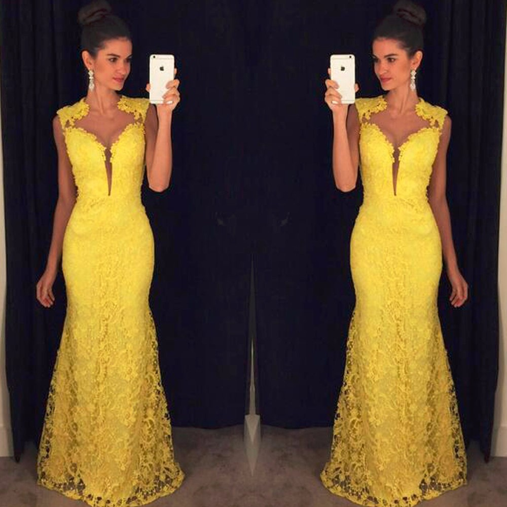 Robe de Soiree Longue African Elegant yellow Lace Mermaid   Prom     Dress   Long Cheap Evening Gowns Vestido de Festa 2019