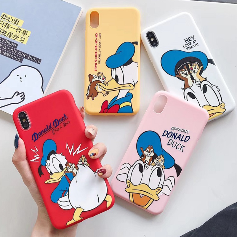Cartoon Donald Daisy Duck phone Case For iPhone 8 7 Plus cute Chip n Dale matte Cases iphone X XR XS MAX case cover