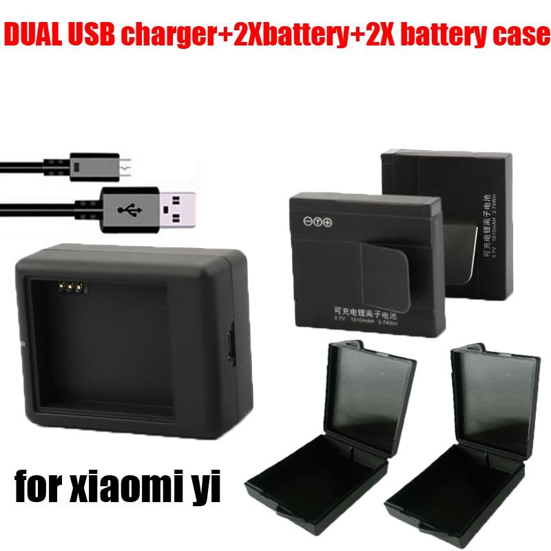 Горячая 2x аккумулятор чехол + двойной зарядное устройство USB + 2x bateria оригинал xiaomi yi аккумулятор для xiaomi yi сяо yi видео камеры м . и .
