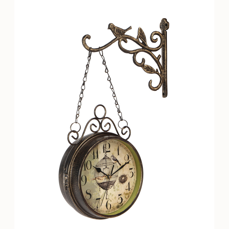 wrought iron double sided wall clock vintage watch retro saat relogio de parede digital reloj mural duvar saati horloge muralein wall clocks from home