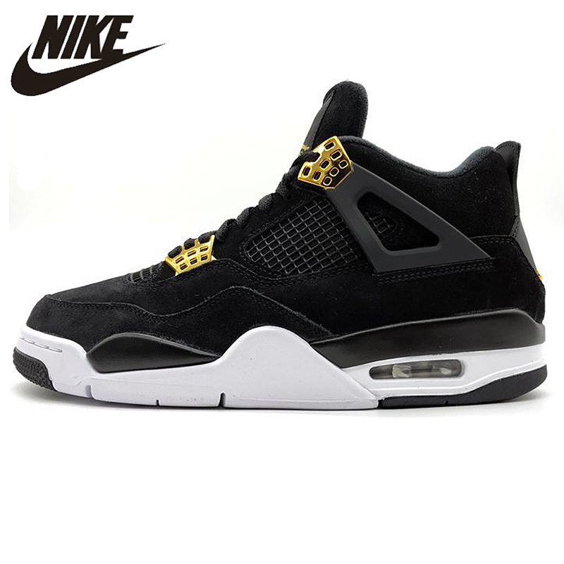 differently e97f0 96bb3 US $167.44 30% OFF Nike Air Jordan 4 Royalty AJ4 Joe 4 Luxury Black Gold  Suede Men's Basketball Shoes,Original Outdoor Sports Shoes 308497-in ...