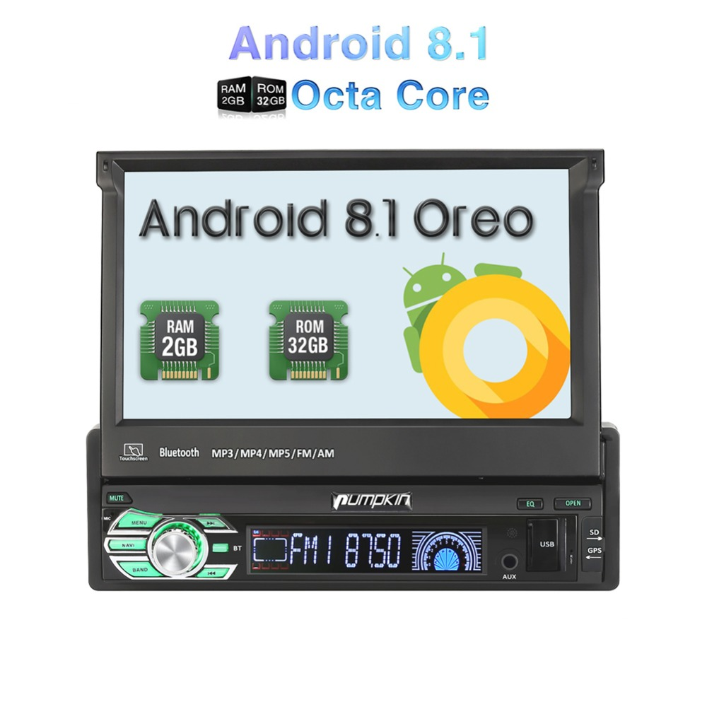 "7/"" 1 Din GPS Sat Navi MP3 CD Player Android 8.1 Car Stereo 4G Wifi Radio BT DAB+"