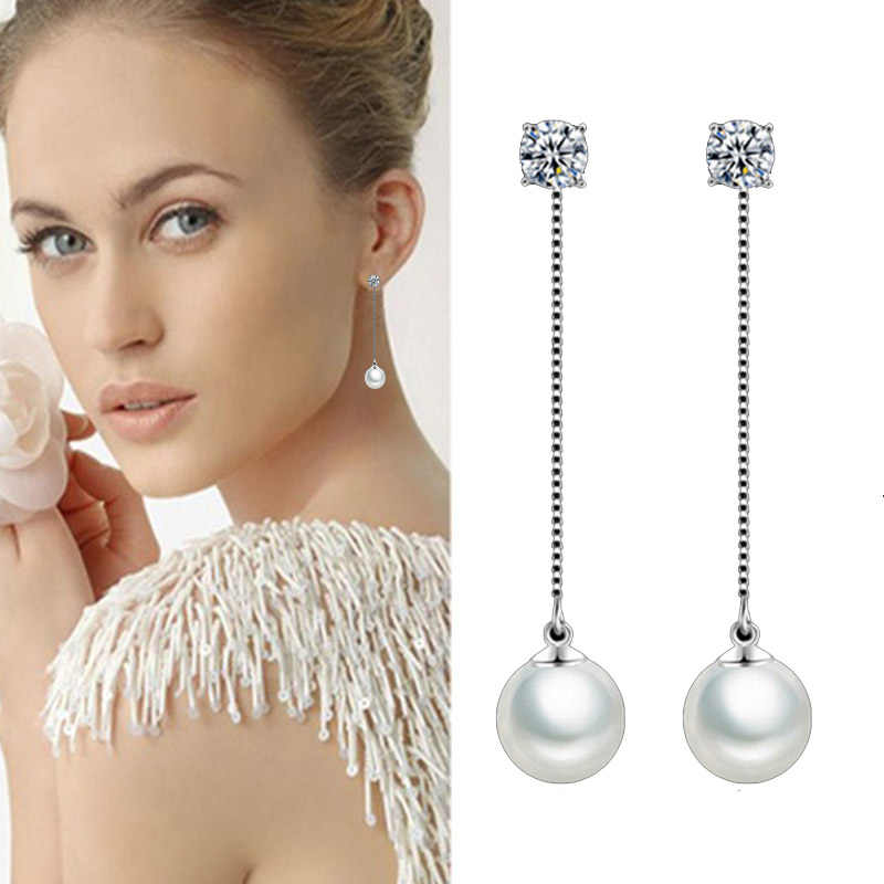 Fashion Silver-color Simulated Pearl Pendant Long Chain Cubic Zirconia Long Earrings Bridal Wedding Pearl Jewelry Drop Earrings