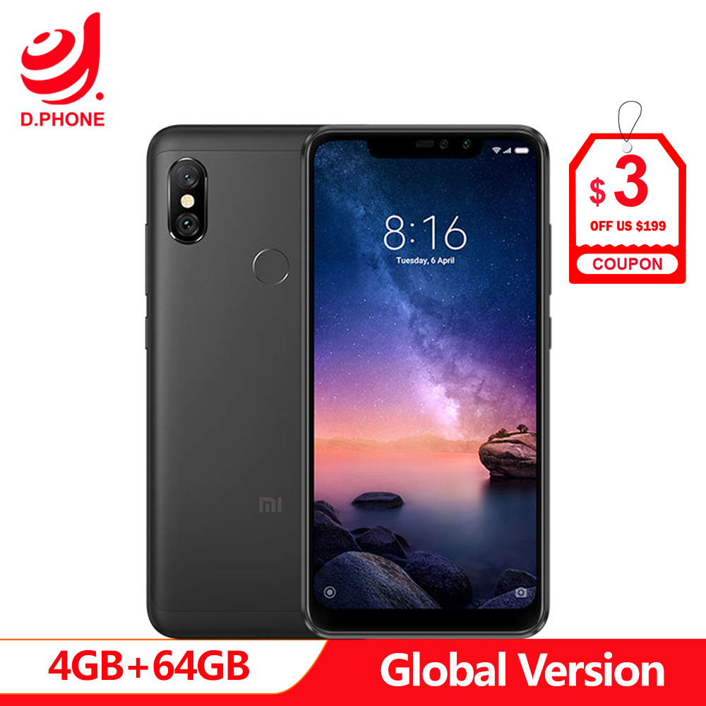 "Spain In stock Global Version Xiaomi Redmi Note 6 Pro NOTE6 PRO 4GB 64GB Octa Core 6.26"" Notch Full Screen 4000mAh Smartphone-in Cellphones from Cellphones & Telecommunications"