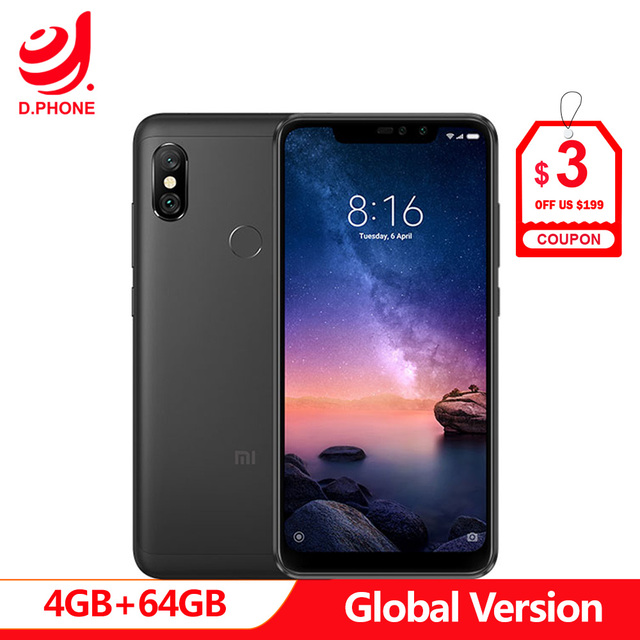 "Spain In stock Global Version Xiaomi Redmi Note 6 Pro NOTE6 PRO 4GB 64GB Octa Core 6.26"" Notch Full Screen 4000mAh Smartphone"