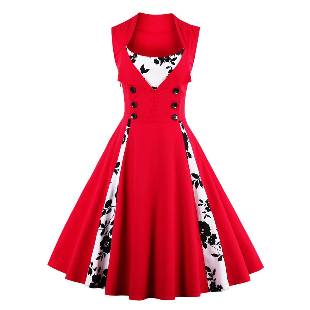 Sexy Vintage Jurk S-4XL Dames 50s 60s Rood Zomerjurk Patchwork Mouwloos Retro Jurk Casual Avondfeest Rockabilly Swing