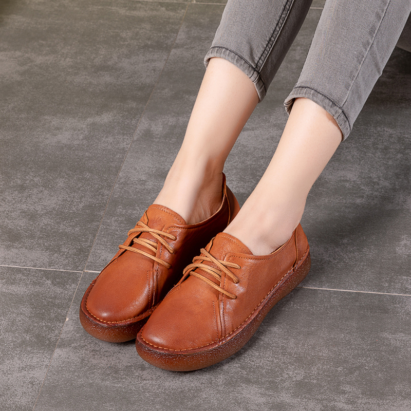 2018 Autumn VALLU Women Flat Platform Shoes Genuine Leather Lace Up Round Toes Handmade Vintage Women