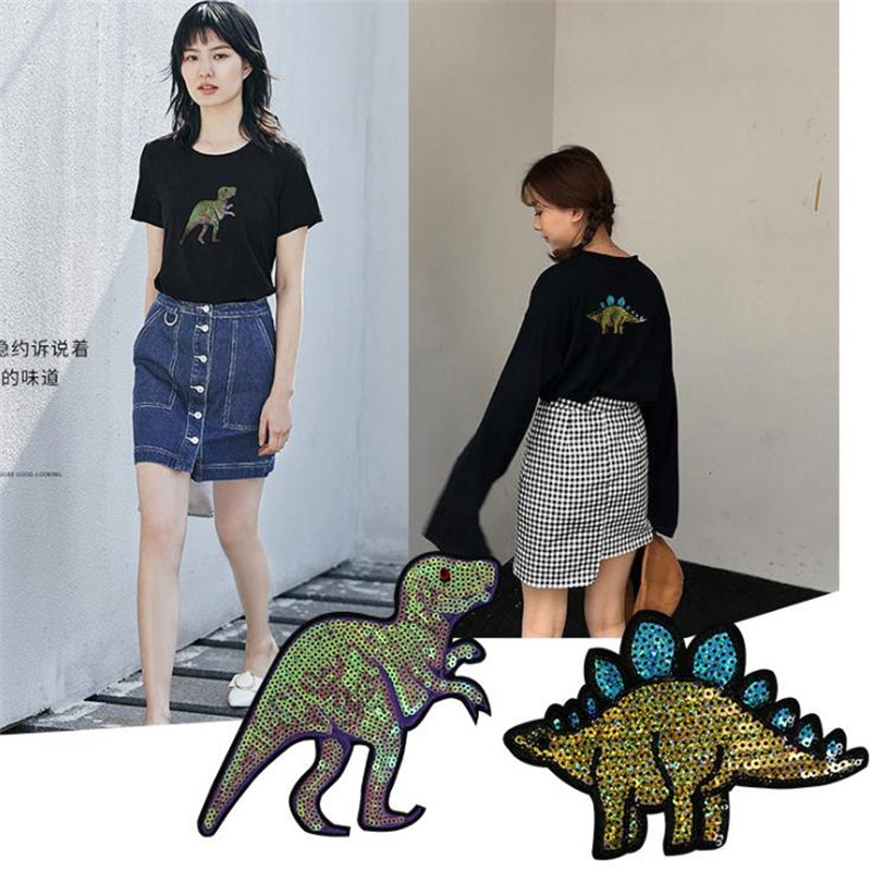 Fashion Tops Shirt Girl Patch Clothes 15.5cm dinosaur Sequins deal with it Patches for clothing T shirt women Stickers