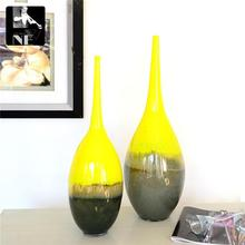 The export yellow glass decoration Art Vase elegant European decor Home Furnishing 50 cm high atmosphere of flower