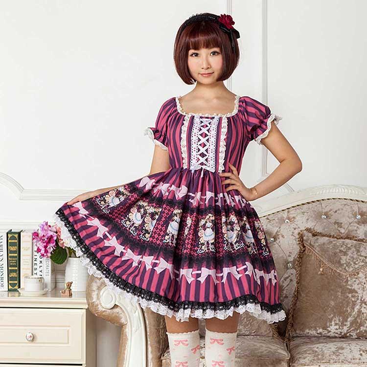 Sweet Lolita Daily Dress Purple Mori Girl Short Sleeve Square Neck Printed Dress