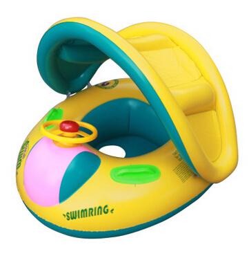 Novo 1 pcs da segurança do bebê infantil de natação Float inflável guarda sol ajustável assento barco anel piscina de natação