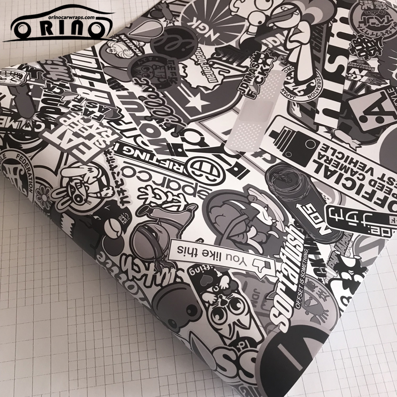 Graffiti Black White Camouflage Sticker Bomb Vinyl Film Adhesive Car Vinyl Wrap Foil Sticker For Vehicle Wrapping Covering
