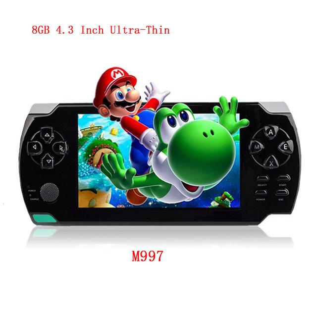 Clásico Original 4.3 Pulgadas Ultra-Delgado Consola de Juegos 8G Construido En 1000 Juegos Portátil Consola de Juegos de Video MP3 Reproductor de Música de cámara