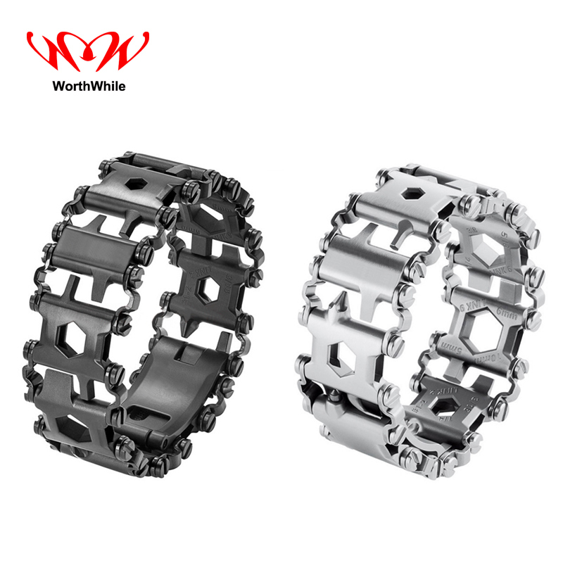 WorthWhile Multifunction Stainless Steel Bracelet EDC Wearable Tread Outdoor Camping Hiking Armband Strap Survival Tools