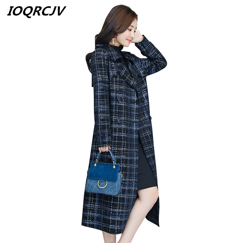 Women's 2019 Fall /Autumn Casual Double Breasted Simple Classic Long   Trench   Coat With Belt Lattice Blue Female Windbreaker L234