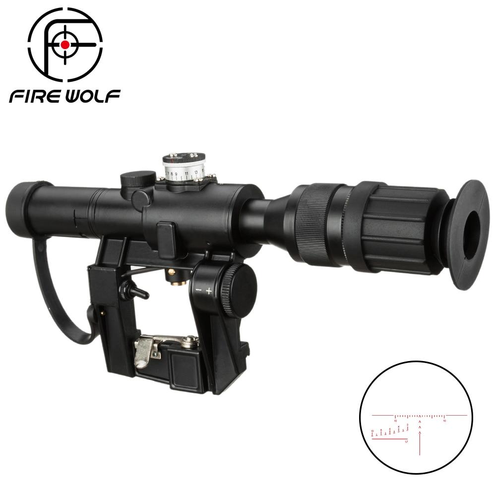 SVD Dragunov Optics 4x26 Red Illuminated Rifle Scope Tactical Hunting Riflescope Airsoft Red Dot Sight Sniper Scope