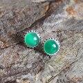 925 Sterling Silver Natural semi-pedras preciosas verdes senhoras do vintage Brincos de Ágata Verde jade rodada presente namorada
