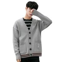 Korean Style Casual Men Knitted Cardigan Sweater Print V Neck Mens Long Sleeve Cardigan Loose Mens Designer Sweater