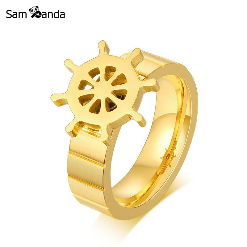 Jewelry & Accessories Punk Spinner Rudder Rings Men Gold Color Stainless Steel Rotatable Ring For Women Mens Jewelry Charm Sailing Christmas Gift