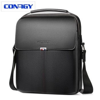 Новая брендовая мужская сумка на плечо бизнес-портфель кожаная мужская сумка через плечо для повседневной носки высокого качества сумка-ме...