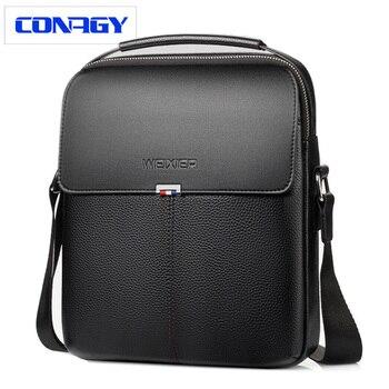 Nueva Marca hombres bolso de hombro negocios maletín bolso de cuero hombres Crossbody bolsas para Casual alta calidad mensajero bolsa de viaje
