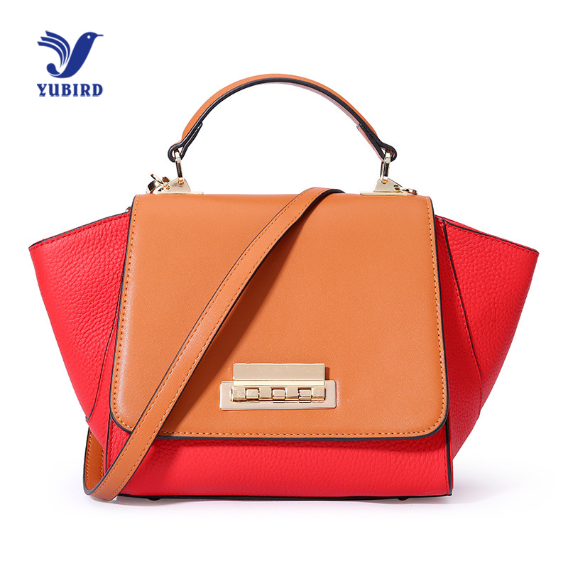 YUBIRD Fashion Cow Leather Women Handbags Crossbody Shoulder Bag Ladies Patchwork Genuine Leather Handbag Trapeze Smile Bag genuine leather studded satchel bag women s 2016 saffiano cute small metal rivet trapeze shoulder crossbody bag handbag