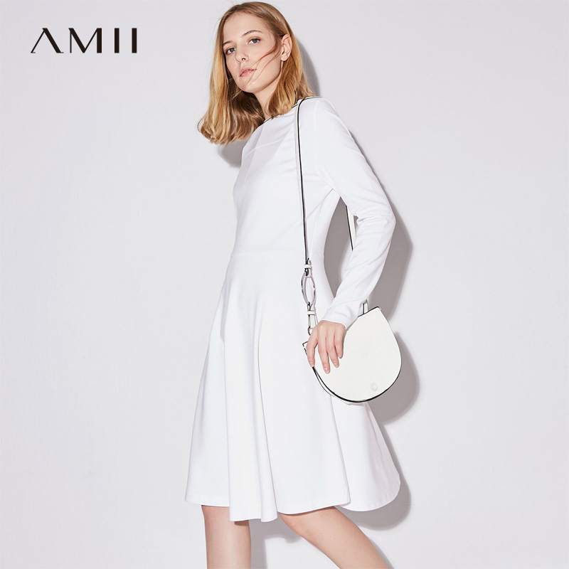 Amii Minimalist Casual Women Dress 2018 Boat Neck Stripes Knee High Long Sleeve Dresses ...