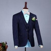 Новый тонкий костюм жаккардовые костюм мужской Жених торжественное платье Летние костюмы мужские из трех частей с жилет костюм