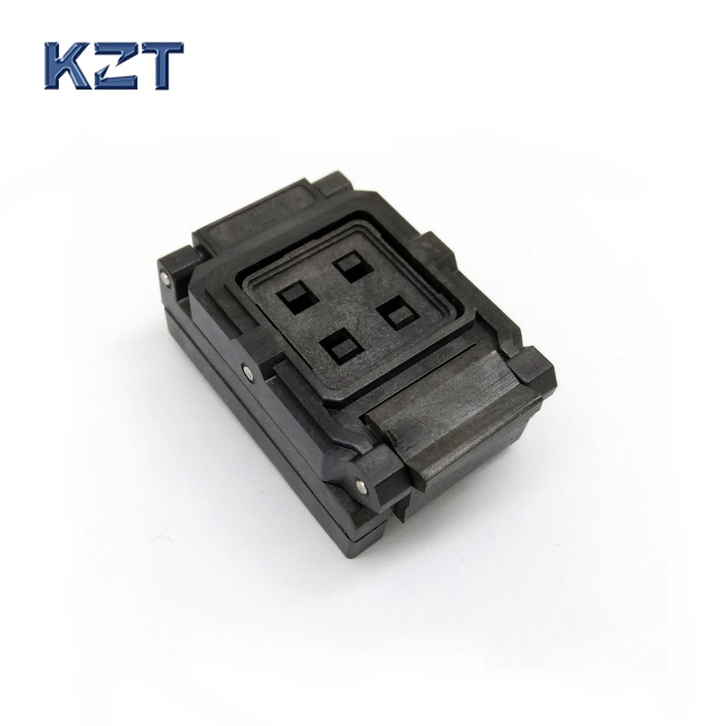 BGA24-1.0 Clamshell Burn in socket pin pitch 1.0mm IC size 6*8mm Pin Grid 5*5 4*4 BGA24(6*8)-1.0 BGA24 VFBGA24 burn in socket bga24 to dip8 ic adapter socket for 8x6mm body width bga chips