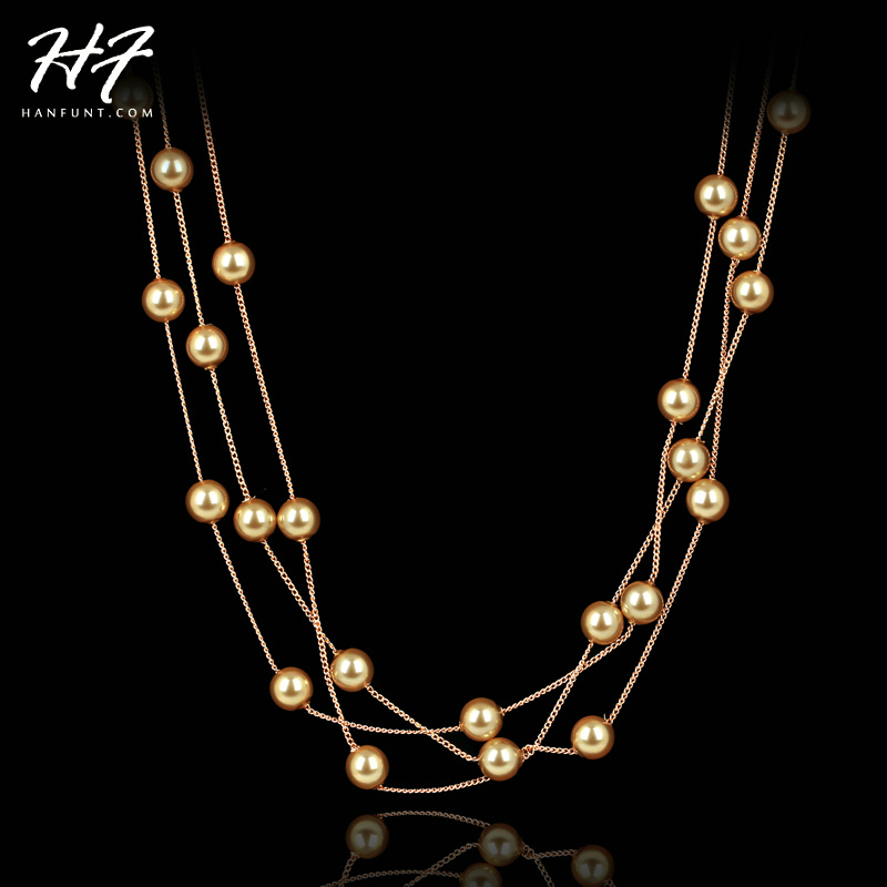 Rose Gold Color String of Beads 6mm Imitation Pearl Necklace Women N342 N343
