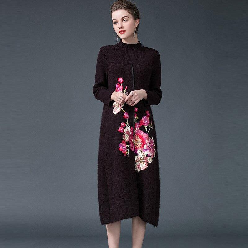 Большие размеры норки кашемир 2018 весна кардиган свитер Для женщин свитер старинные Для женщин вышивка цветок длинные пальто Верхняя одежда