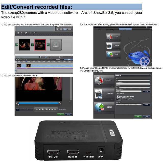 ezcap280P HD Video Game Capture 1080P/ YPbPr Recorder into USB Disk For DVD  Player For XBOX One/360 For PS3 PS4 For WII U