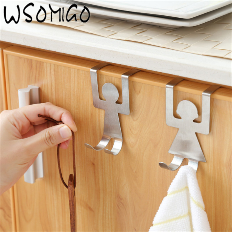 WSOMIGO 2pc Stainless Steel Lovers Shaped Hooks Up Cartoon Kitchen Holder Gadget Hanger Humanoid Door Hook Kitchen Accessories-S