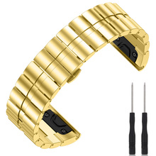 Ремешок для часов из нержавеющей стали с отверткой для Garmin спуск Mk1 D2 Charlie Fenix 5X ND998