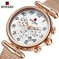 Роскошные женские часы с хронографом из розового золота  модные спортивные часы  женские водонепроницаемые часы из нержавеющей стали  женс...