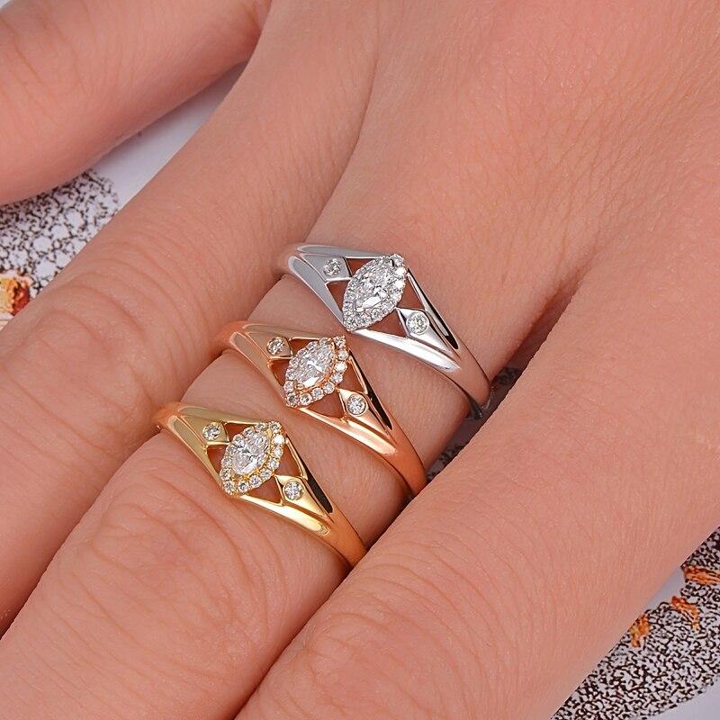 Caimao 14 k Oro 0.15ctw Naturale GH VS Marquise Diamante Rotondo di Fidanzamento Anello di Cerimonia Nuziale