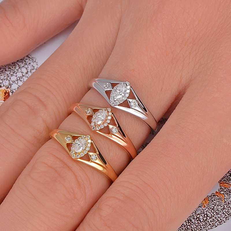 Caimao 14K Gold 0.15ctw Natural GH VS Marquise Round Diamond Engagement Wedding Ring caimao 0 18ct natural round f vs diamond 14k white gold engagement wedding ring