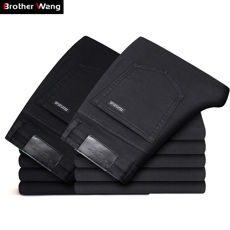 2019 New Men's Slim Thin Black   Jeans   Fashion Casual Classic Style Elastic Force Skinny Trousers Male Brand Denim Pants Gray