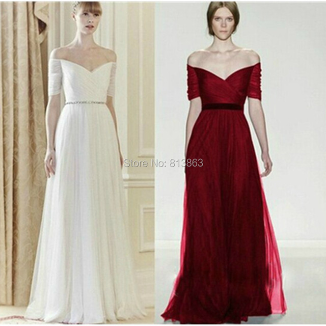 Elegant Burgundy Red White Black A Line Long Wedding Party Gowns Bridesmaid Dress Bride Dresses In