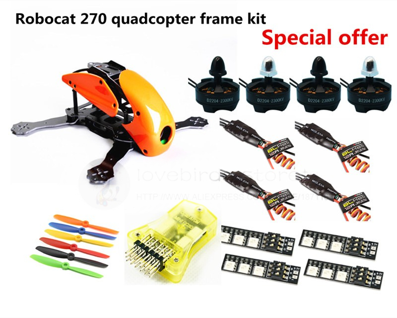 DIY FPV race mini drone Robocat 270 quadcopter frame kit 4-axis pure carbon CC3D + D2204 + BL12A ESC + LED light Special price diy fpv mini drone qav210 zmr210 race quadcopter full carbon frame kit naze32 emax 2204ii kv2300 motor bl12a esc run with 4s