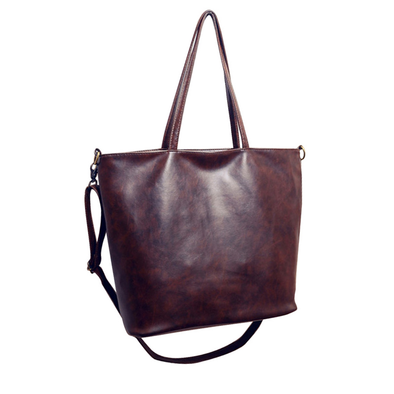 bfca9e33f662 2017 Vintage Women Handbag PU Leather Plain Retro Brown Shoulder Bags Women  Crossbody Bag Ladies Daily Use Female Large Totes