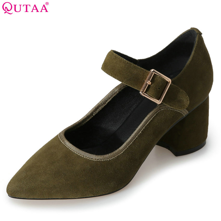 QUTAA 2018 Women Pumps Buckle Square High Heel Women Shoes Fashion All Match Pointed Toe Platform Ladies Pumps Size 34-39 qutaa 2018 women ankle boots square high heel pointed toe zipper all match women shoes ladies motorcycle boots size 34 43