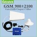 Doble banda de la señal del repetidor gsm 900 2100 2g 3g (EDGE HSPA) GSM WCDMA UMTS repetidor de señal de teléfono celular con la antena y el cable