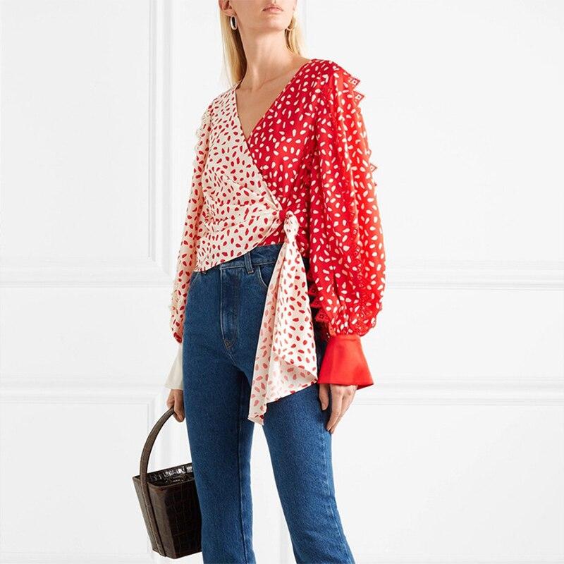 2019 printemps été nouvelle dentelle patchwork à manches longues col en v sexy Blouses en mousseline de soie femmes auto portrait haut chemisier