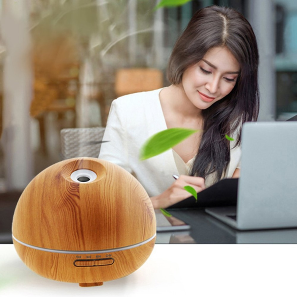 Humidifier Aroma Essential Oil Diffuser Ultrasonic Air Humidifier with Wood Grain Pattern & Colorful LED Night Light EU Plug arrow print rib cuff zip up jacket