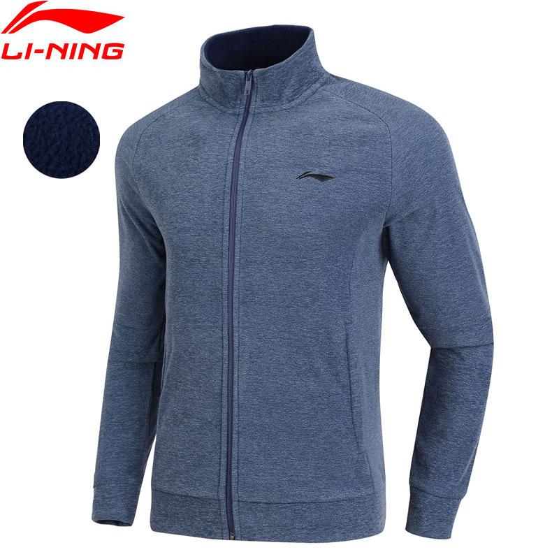 Li Ning Men Training Sweater with Zipper 100 Polyester Warm Fleece Regular Fit LiNing Comfort Sports