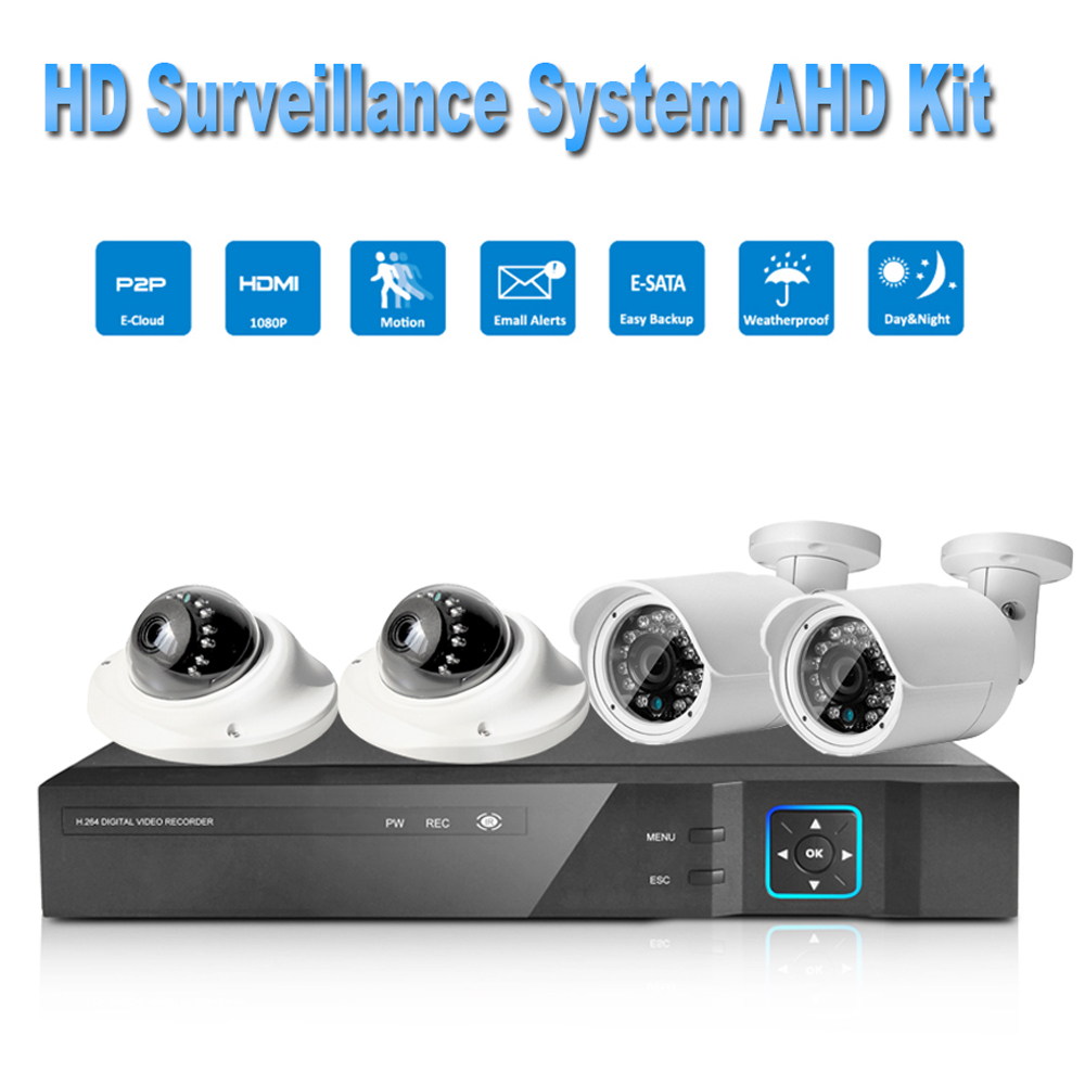 PUAroom 4CH HD 1080P IP66 night vision AHD camera RoHS FCC CE approved H.264 onvif video recording diy Home Security System
